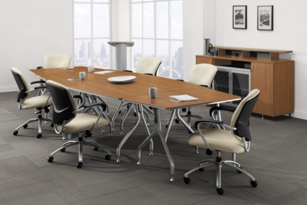 48x96 boat shaped ganged conference table with contoured tungsten legs, leveling glides, natural cherry laminate tops, and contrasting tungsten edge banding.