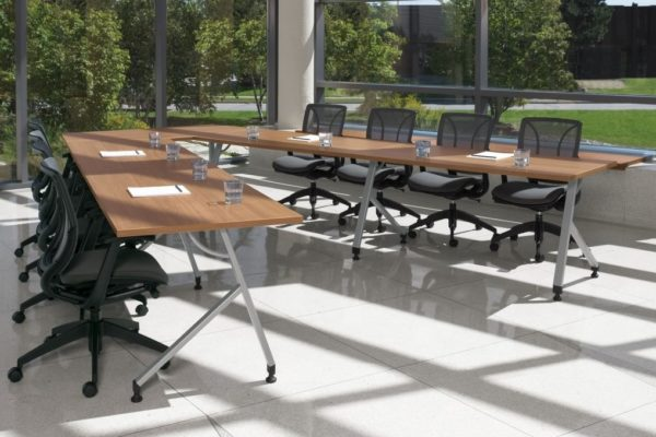 24x48 training table configuration with angled square legs, casters, tungsten powdercoat, and natural cherry laminate tops.