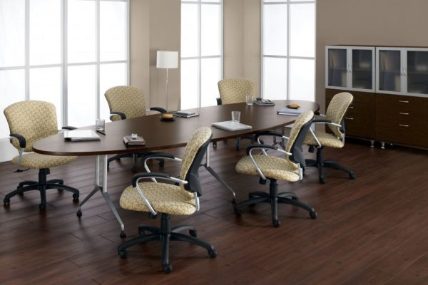 42x96 elliptical-shaped conference table with tungsten ladder-style metal legs and espresso laminate top.