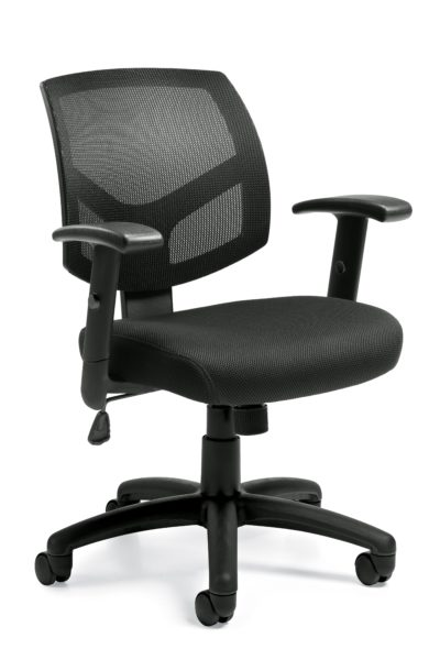 Basic low back administrative swivel-tilt chair with black fabric seat and black mesh back, 5-star base, and height-adjustable arms.