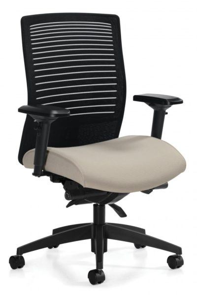 Medium mesh back synchro-tilt chair with ratchet back height adjustment, height & width adjustable arms, sliding seat pan, tan extra thick contoured seat, 4 locking positions, and plastic base.