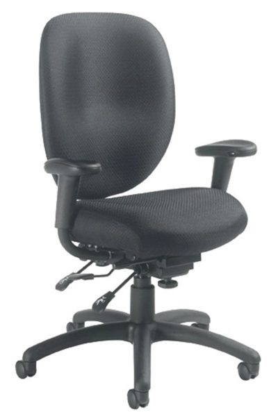 Multi-tilt soft curve task chair in black fabric with tilt tension adjustment, height adjustable arms, adjustable back height, and pivoting arm caps.