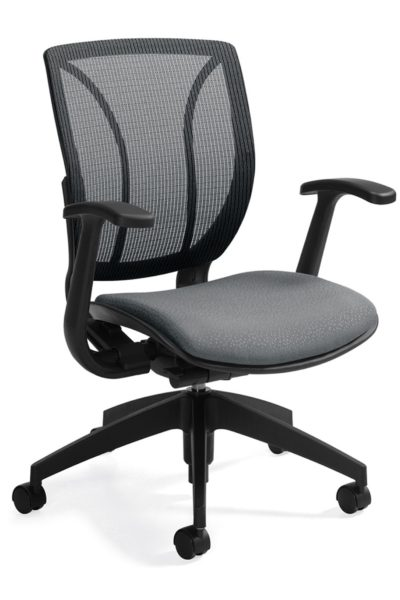 Tilting medium mesh back chair with fixed height urethane-skinned arms, pneumatic seat height paddle, and medium gray fabric seat.