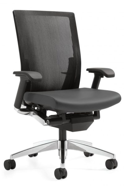 Contemporary design executive manager-task chair with synchro tilt mechanism, high mesh back with lumbar adjustments, 4-position tilt lock, polished cast aluminum accents on seat frame and base, black leather seat.