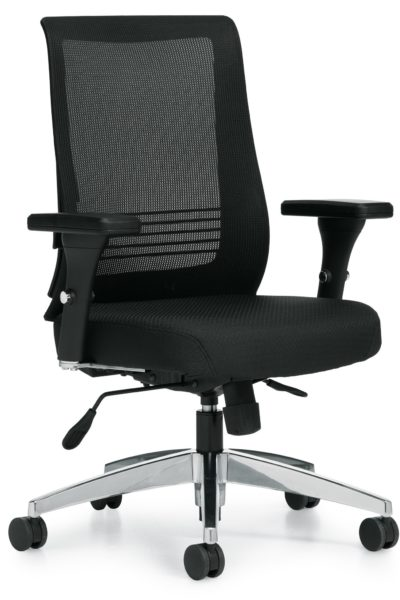 Contoured medium mesh back task chair with extra thick fabric seat, height & width adjustable arms, and chrome 5-star base.