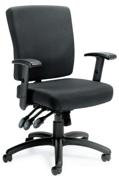 Multi-function medium back task chair with black fabric seat and back, resin 5-star base, and multiple adjustment paddles for seat and back angle adjustments.