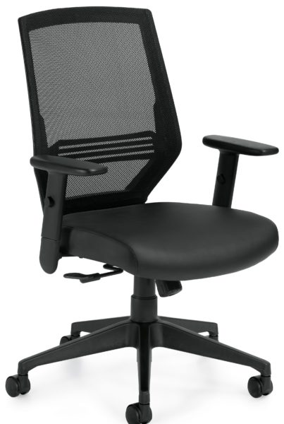 Entry level high back task chair with black mesh back and leathertek seat, adjustable arms, and resin 5-star base.