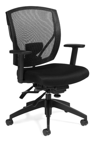 Multi-function medium mesh back task chair with black fabric seat, multiple paddles for complete ergonomic adjustments, tilt tension knob, and 5-star plastic base.