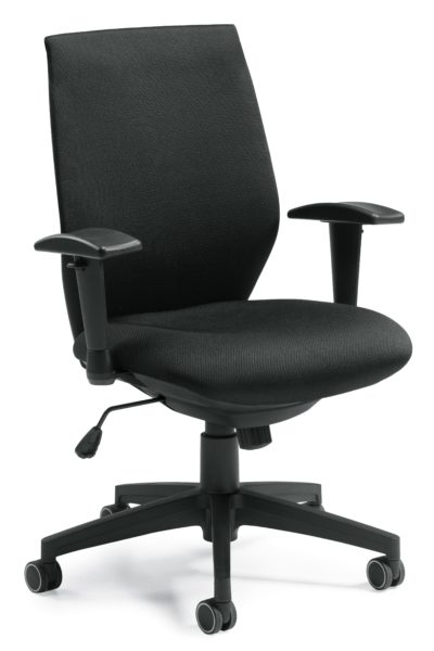 Entry level high back task chair with black fabric seat and back, height adjustable arms, tension control, and 5-star resin base.