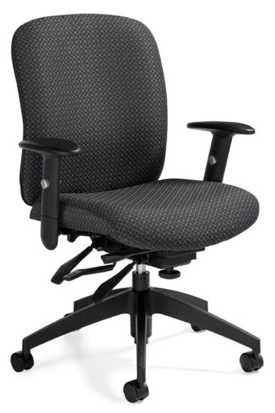Heavy duty multi-function ergonomic chair with infinite seat pan and back tilt paddles, height & width adjustable arms, ratchet back height, and 5-star base.