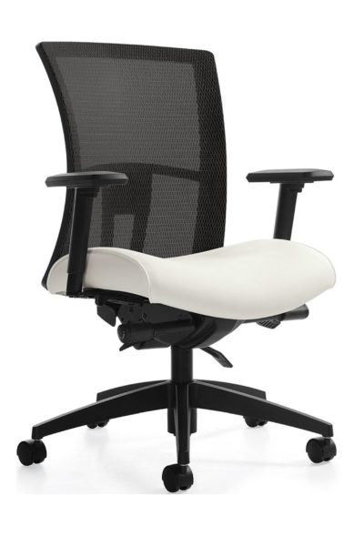 Black mesh medium back synchro tilt task chair with white fabric seat, height & width adjustable arms, sliding seat pan, and 5-star resin reinforced base.