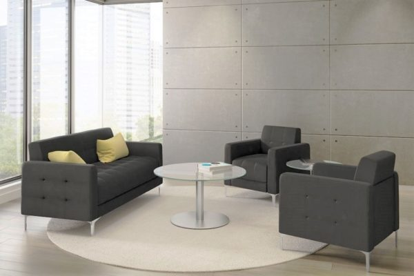 Contemporary styled love seat and club chairs in medium grey fabric with tufting, buttons, and brushed nickel tapered legs.