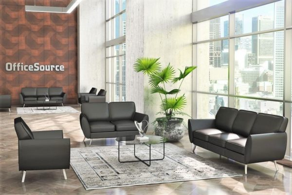 """Modern lobby grouping including sofa, loveseat, and club chair with black leather and angled, tapered legs. Accent glass top 36"""" round coffee table."""